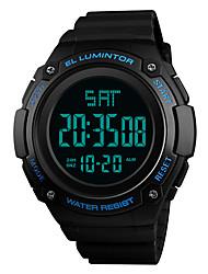 Недорогие -SKMEI Муж. Спортивные часы электронные часы Японский Цифровой Стеганная ПУ кожа Черный / Зеленый 50 m Будильник Календарь Секундомер Цифровой На каждый день Мода -  / Один год / Хронометр