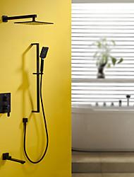 Недорогие -смеситель для душа - современная картина настенный монтаж керамический клапан / из латуни / с одной ручкой смеситель для душа с четырьмя отверстиями для ванны
