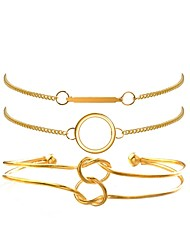 cheap -3pcs Women's Bracelet Knot Ladies European Korean Fashion Gold Plated Bracelet Jewelry Gold For Birthday Holiday