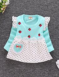 abordables -bébé Fille Actif Quotidien / Sortie Points Polka / Imprimé Manches Longues 50-60 cm Coton Robe Jaune / Bébé