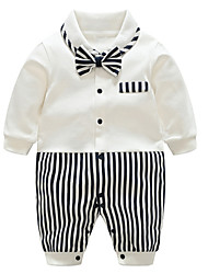 cheap -Baby Boys' Basic Daily Striped Printing / Patchwork Long Sleeve Cotton Romper Black