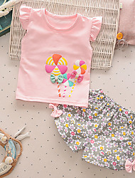 cheap -Baby Girls' Casual Active Daily Going out Sun Flower Floral Print Short Sleeve Regular Clothing Set Yellow / Toddler
