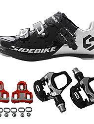 cheap -SIDEBIKE Adults' Cycling Shoes With Pedals & Cleats Road Bike Shoes Carbon Fiber Cushioning Cycling Black Men's Cycling Shoes / Breathable Mesh
