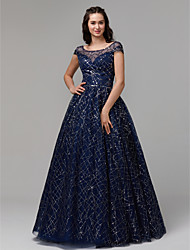 cheap -Ball Gown Illusion Neck Floor Length Tulle / Sequined Sparkle / Blue Prom / Quinceanera Dress with Sequin / Crystals 2020
