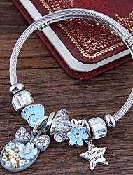 cheap -Women's Charm Bracelet Sculpture Star Bowknot European Sweet Fashion Rhinestone Bracelet Jewelry Pink / Light Blue For Daily