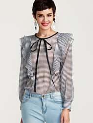 cheap -Women's Daily Work Basic / Street chic Slim Blouse - Houndstooth Dusty Rose Blushing Pink / Spring / Summer / Ruffle