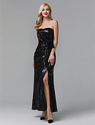 cheap -Sheath / Column Celebrity Style Furcal Beaded & Sequin Prom Formal Evening Dress Strapless Sleeveless Ankle Length Sequined with Pleats Split Front 2020
