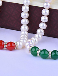 cheap -Women's Onyx Freshwater Pearl Choker Necklace Natural Fashion Elegant Stainless Steel Agate S925 Sterling Silver Dark Green Red 45 cm Necklace Jewelry 1pc For Party Gift