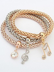 cheap -3pcs Women's Chain Bracelet Layered Music Music Notes Ladies Fashion Multi Layer Alloy Bracelet Jewelry Gold For Ceremony School