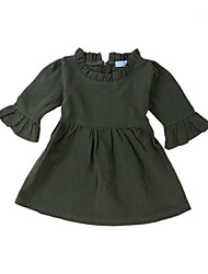 cheap -Baby Girls' Vintage / Basic Daily Solid Colored Long Sleeve Regular Regular Above Knee Cotton Dress Green / Toddler
