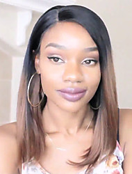 cheap -Virgin Human Hair Glueless Lace Front Lace Front Wig Bob Straight bangs Rihanna style Brazilian Hair Straight Yaki Ombre Wig 130% Density with Baby Hair Ombre Hair Natural Hairline African American