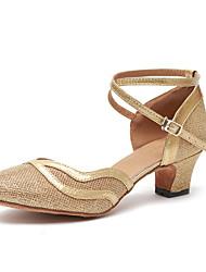 cheap -Women's Modern Shoes / Ballroom Shoes Patent Leather Heel Ruffle Cuban Heel Dance Shoes Brown / Gold / Practice