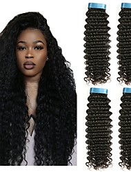 cheap -4 Bundles Peruvian Hair Curly Human Hair Natural Color Hair Weaves / Hair Bulk Human Hair Extensions 8-28 inch Natural Color Human Hair Weaves Best Quality New Arrival For Black Women Human Hair / 8A