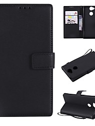 cheap -Case For Sony Xperia XZ1 Compact / Sony Xperia XZ1 / Sony Xperia XZ Wallet / Card Holder / Flip Full Body Cases Solid Colored Hard PU Leather