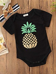 cheap -Baby Girls' Active / Basic Daily / Holiday Pineapple Solid Colored / Print Printing Short Sleeves Bodysuit Black / Toddler