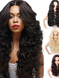 cheap -Synthetic Wig Wavy Kardashian Middle Part Wig Burgundy Long Black#1B Light Blonde Red Synthetic Hair Women's Heat Resistant Synthetic African American Wig Black Burgundy