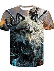 cheap -Men's Daily Club Basic / Street chic T-shirt - Animal Wolf, Print Round Neck Brown / Short Sleeve / Summer