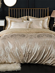 cheap -Duvet Cover Sets Luxury 100% Cotton / Silk / Cotton Blend / Cotton Jacquard Printed & Jacquard 4 PieceBedding Sets / 300 / 4pcs (1 Duvet Cover, 1 Flat Sheet, 2 Shams)
