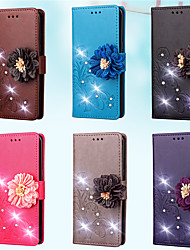 cheap -Phone Case For Samsung Galaxy Full Body Case Leather Wallet Card S7 edge S7 S5 Mini S4 Mini S4 S3 Mini S3 Wallet Card Holder Rhinestone Flower / Floral Solid Color Hard PU Leather