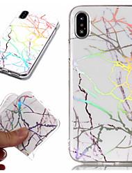 Недорогие -Кейс для Назначение Apple iPhone X / iPhone 8 Pluss / iPhone 8 Покрытие / IMD / С узором Кейс на заднюю панель Мрамор Мягкий ТПУ