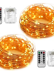 cheap -10m String Lights 100 LEDs SMD 0603 2pcs Warm White White Color-changing Waterproof Party Decorative Batteries Powered