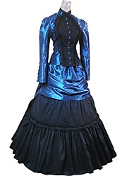 cheap -Gothic Lolita Rococo Costume Party Costume Masquerade Bule / Black Vintage Cosplay Flocked Long Sleeve Puff Sleeve Ball Gown