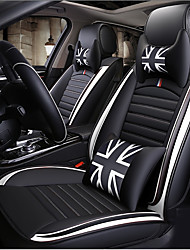 cheap -Four seasons universal Black and white Cartoon five-seat car seat cushion/PU leather/the airbag is compatible/wo headrest/two waist cushions/one steering wheel sleeve