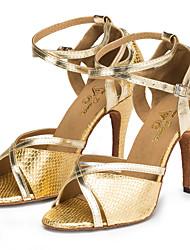 cheap -Women's Dance Shoes Synthetics Latin Shoes Animal Print Sneaker Slim High Heel Gold / Practice