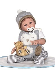 cheap -NPKCOLLECTION 22 inch NPK DOLL Reborn Doll Baby Boy Reborn Baby Doll Gift Cute Artificial Implantation Brown Eyes Full Body Silicone with Clothes and Accessories for Girls' Birthday and Festival Gifts