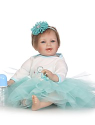 cheap -NPKCOLLECTION NPK DOLL Reborn Doll Baby 24 inch Silicone - lifelike Gift Cute Child Safe New Design Non Toxic Kid's Unisex / Girls' Toy Gift / Artificial Implantation Blue Eyes