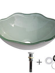 cheap -Bathroom Sink / Bathroom Mounting Ring / Bathroom Water Drain Contemporary - Tempered Glass Round Vessel Sink