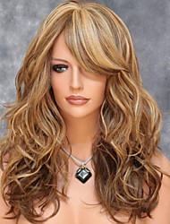 cheap -Synthetic Wig Body Wave Wavy Layered Haircut Wig Blonde Medium Length Brown Synthetic Hair 20 inch Women's Side Part With Bangs For European Blonde