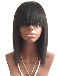 cheap -Remy Human Hair Lace Front Wig Bob Short Bob With Bangs style Brazilian Hair Straight Black Wig 130% Density with Baby Hair Women's Short Human Hair Lace Wig Aili Young Hair