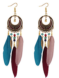 cheap -Women's Drop Earrings Feather Bohemian European Fashion Feather Earrings Jewelry Black / Dark Blue / Dark Red For Daily 1 Pair