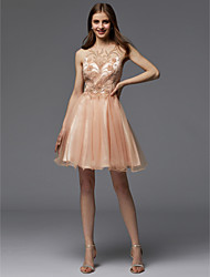 cheap -A-Line Cute Pastel Colors Beaded & Sequin Homecoming Cocktail Party Dress Jewel Neck Sleeveless Short / Mini Tulle with Beading 2020
