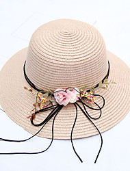 Недорогие -Жен. Активный Праздник Соломенная шляпа Солома,Контрастных цветов Все сезоны Бежевый Темно синий Хаки