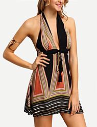 cheap -Women's Backless Going out Mini Slim Sheath Sundress - Color Block High Waist Halter Neck Deep V Khaki M L XL / Super Sexy