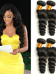 cheap -4 Bundles Brazilian Hair Wavy Human Hair Natural Color Hair Weaves / Hair Bulk Human Hair Extensions 8-28 inch Natural Color Human Hair Weaves Fashionable Design Best Quality Hot Sale Human Hair / 8A