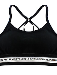 cheap -Women's Sports Bra Top Sports Bra Bralette Sporty Cotton Elastane Yoga Running Breathability Softness Padded Light Support Black Grey White Solid Colored