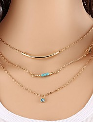 cheap -Women's Turquoise Layered Necklace Eyes Classic Fashion Alloy Gold 40 cm Necklace Jewelry 1pc For Daily