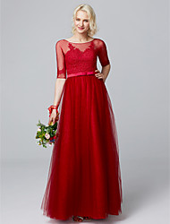 cheap -A-Line Boat Neck Floor Length Lace / Tulle / Lace Over Tulle Bridesmaid Dress with Appliques / Sash / Ribbon by LAN TING BRIDE®