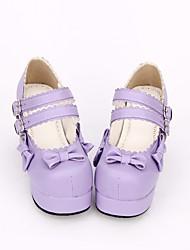 cheap -Women's Lolita Shoes Sweet Lolita Classic Lolita Princess Lolita Chunky Heel Shoes Solid Colored Bowknot 7.5 cm Purple PU(Polyurethane) Halloween Costumes