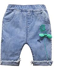 abordables -bébé Fille Actif Quotidien Fleur Noeud Coton Jeans Bleu / Bébé