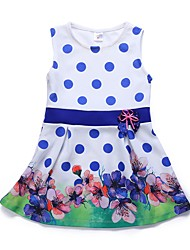 cheap -Kids Girls' Vintage / Sweet Daily / Going out Butterfly Polka Dot / Floral Backless / Lace up / Print Sleeveless Above Knee Cotton / Acrylic Dress White 2-3 Years(100cm)