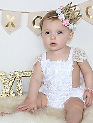 cheap -Baby Girls' Active / Basic Daily / Holiday Solid Colored Pure Color / Lace Trims Short Sleeves Bodysuit White / Toddler