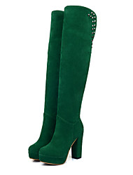 cheap -Women's Boots Suede Shoes Chunky Heel Round Toe Rivet Suede Over The Knee Boots Fashion Boots Fall & Winter Black / Brown / Dark Green / Party & Evening
