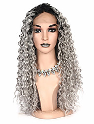cheap -Synthetic Lace Front Wig Curly Bob Pixie Cut Lace Front Wig Ombre Long Grey Synthetic Hair Women's Party Synthetic Ombre Hair Gray Ombre / African American Wig / For Black Women
