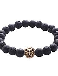 abordables -Bracelet à Perles Bracelet Hologramme Bracelet Homme Rétro Vintage Naturel Mode Bracelet Bijoux Noir Forme de Cercle pour Cadeau Quotidien
