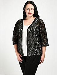cheap -Women's Daily / Holiday Basic / Boho Lace Solid Colored 3/4 Length Sleeve Plus Size Oversized Long Cardigan, V Neck Summer White / Black XXXXL / XXXXXL / XXXXXXL