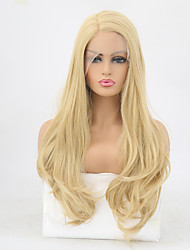 cheap -Synthetic Lace Front Wig Wavy Layered Haircut Lace Front Wig Blonde Long Light golden Synthetic Hair Women's Heat Resistant Blonde